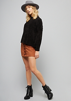 Black Ribbed Chenille High Low Sweater