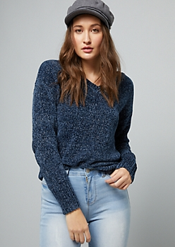 Navy Metallic V Neck Chenille Sweater