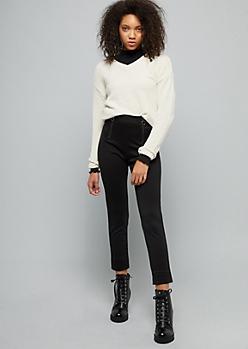Ivory Metallic V Neck Chenille Sweater