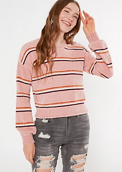 Pink Striped Rolled Hem Chenille Sweater