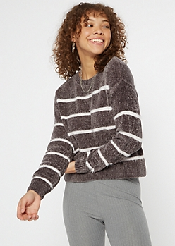 Pewter Striped Eyelash Knit Chenille Sweater