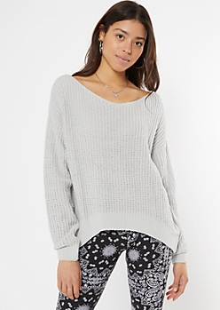 Gray Slouchy Matte Chenille Sweater