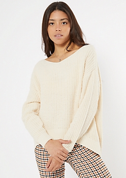 Ivory Slouchy Matte Chenille Sweater