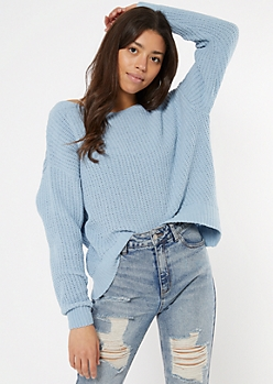 Blue Slouchy Matte Chenille Sweater