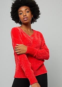 Red V Neck Chenille Sweater