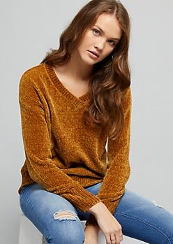 Mustard Yellow V Neck Chenille Sweater