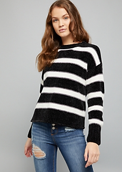 Black Striped Crew Neck Chenille Sweater
