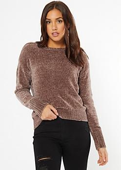 Brown Chenille Crew Neck Sweater