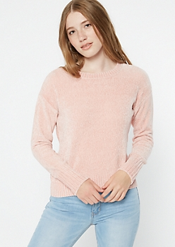 Pink Chenille Crew Neck Sweater