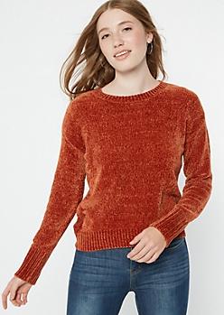 Burnt Orange Chenille Crew Neck Sweater