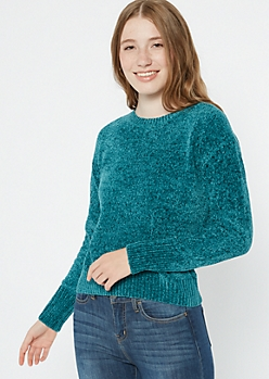 Teal Chenille Crew Neck Sweater