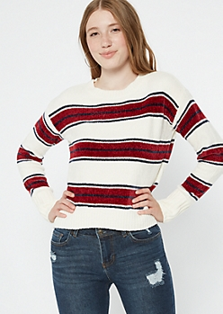 Red Striped Chenille Fitted Sweater