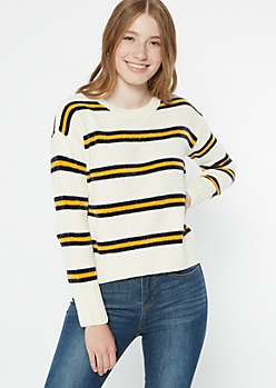 Mustard Striped Chenille Fitted Sweater