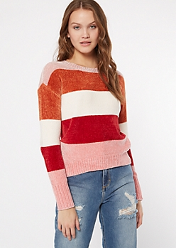 Pink Striped Chenille Fitted Sweater