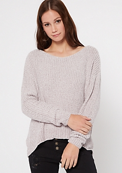 Gray Slouchy Chenille Sweater