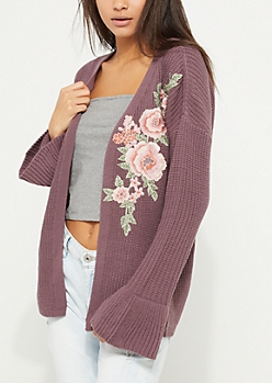 Purple Flower Embroidered Bell Sleeve Cardigan