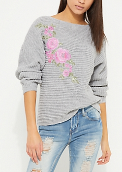 Gray Rose Embroidered Slouchy Pullover Sweater