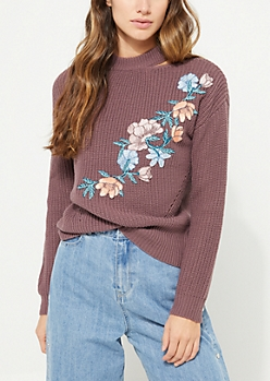 Purple Rose Embroidered Knit Choker Sweater