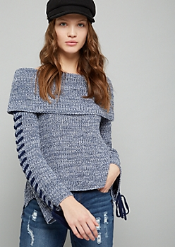 Blue Lace Up Off The Shoulder Sweater