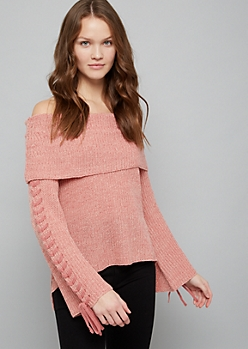 Pink Lace Up Off The Shoulder Sweater