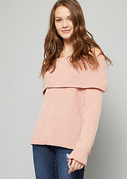 Pink Chenille Foldover Off The Shoulder Sweater