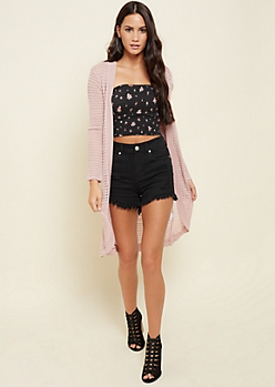 Light Pink Open Knit Long Sleeve Cardigan