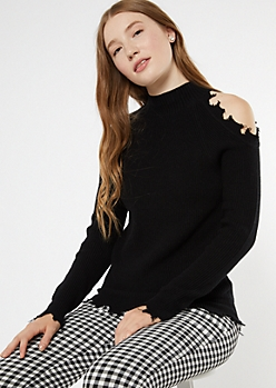 Black Shoulder Cutout Frayed Hem Sweater
