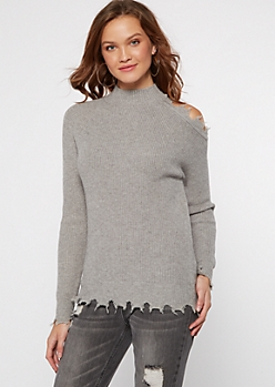 Gray Shoulder Cutout Frayed Hem Sweater