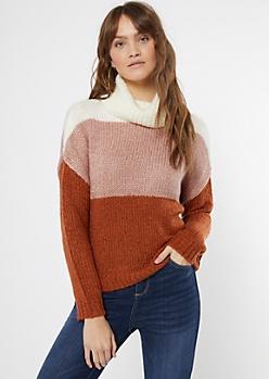 Burnt Orange Striped Turtleneck Sweater