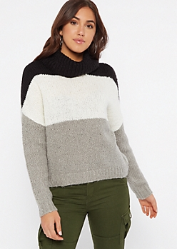 Black Striped Turtleneck Sweater