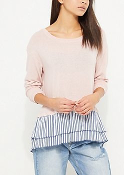 Pink Striped Double Ruffle Sweater