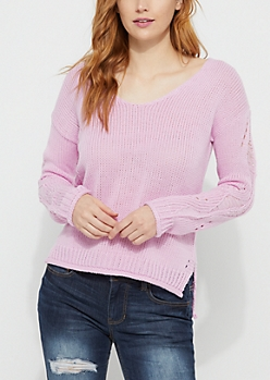 Purple Distressed V Neck Sweater