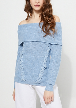 Blue Fold Over Off Shoulder Sweater