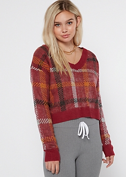 Red Plaid V Neck Cropped Sweater