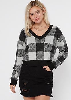 Black Plaid V Neck Cropped Sweater