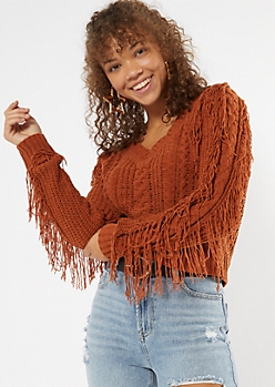 Burnt Orange V Neck Fringe Chenille Sweater