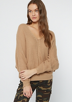 Tan Cable Knit Dolman Sleeve Lace Up Sweater