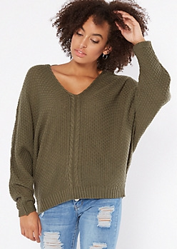 Olive Cable Knit Dolman Sleeve Lace Up Sweater
