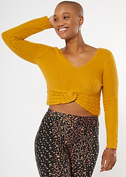 Mustard Twist Front Cable Sweater