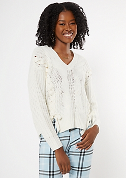 Ivory Lace Up Front Cable Sweater
