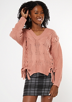 Medium Pink Lace Up Front Cable Sweater