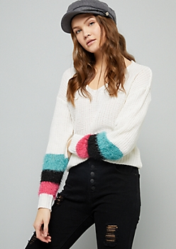 Ivory Striped Eyelash Knit Sleeve Sweater