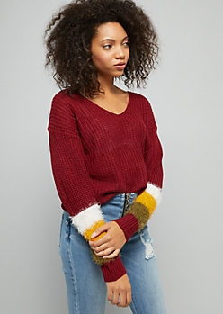 Red Striped Eyelash Knit Sleeve Sweater
