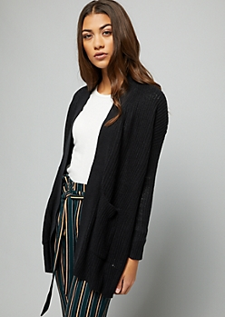 Black Drop Shoulder Slouchy Cardigan