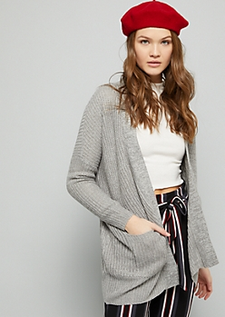 Gray Marled Drop Shoulder Slouchy Cardigan