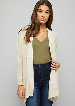 Oatmeal Marled Drop Shoulder Slouchy Cardigan