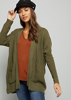 Green Drop Shoulder Slouchy Cardigan