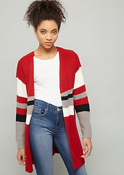 Red Striped Lace Up Back Cardigan