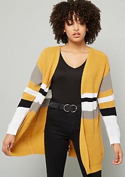 Mustard Striped Lace Up Back Cardigan