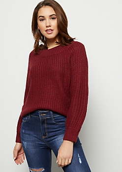 Burgundy Scoop Neck Balloon Sleeve Sweater